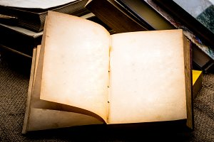 Blank open old book