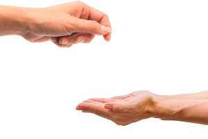 Hand give and take action