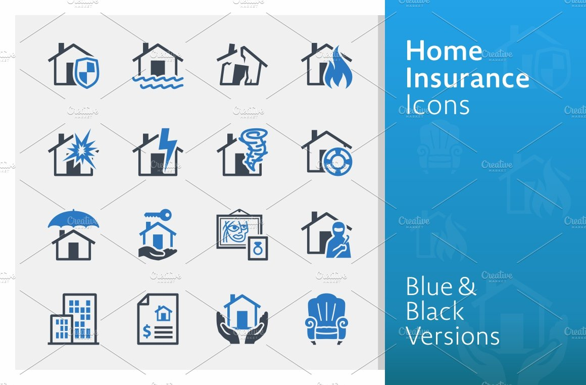 Home Insurance Icons Blue Series Icons Creative Market