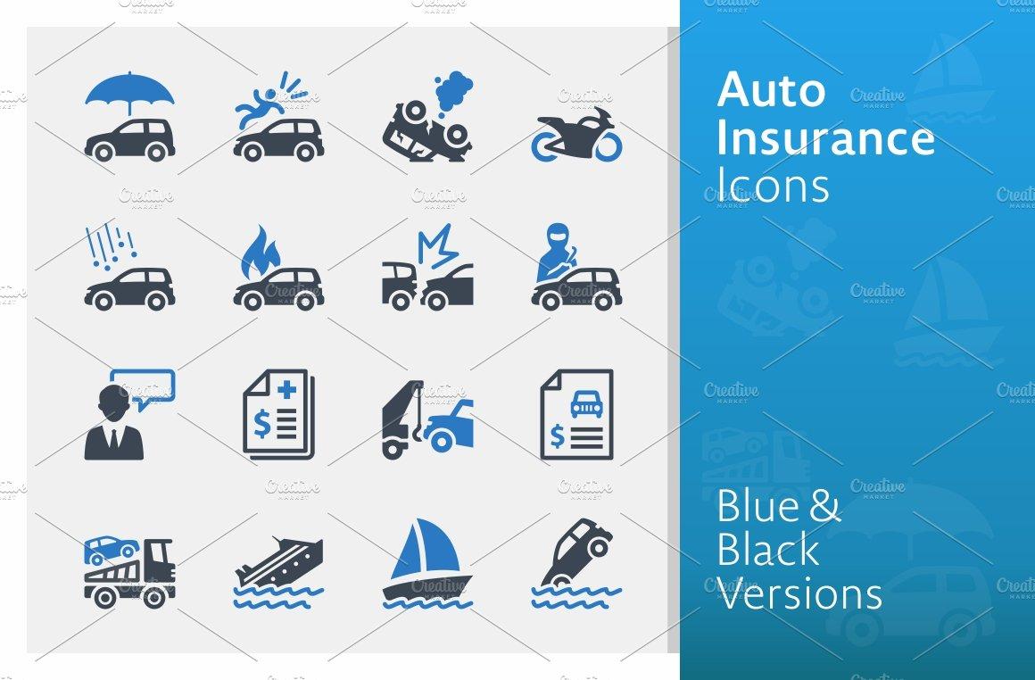 Auto Insurance Icons - Blue Series | Custom-Designed Icons ...