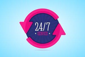 24/7 hours service badge