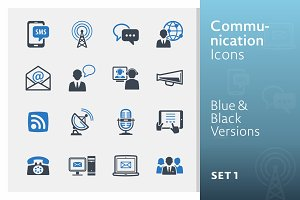 Communication Icons Set 1 | Blue