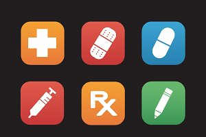 Medical center icons. Vector