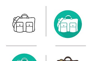 Leather handbag icons. Vector