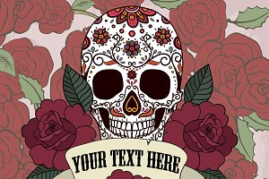 Sugar skull with frame and roses