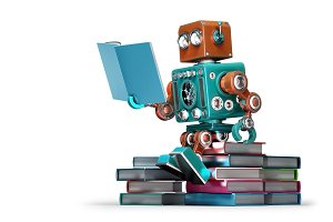 Retro robot reading a book.