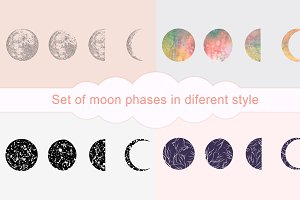 16 Moon Phases Vector set