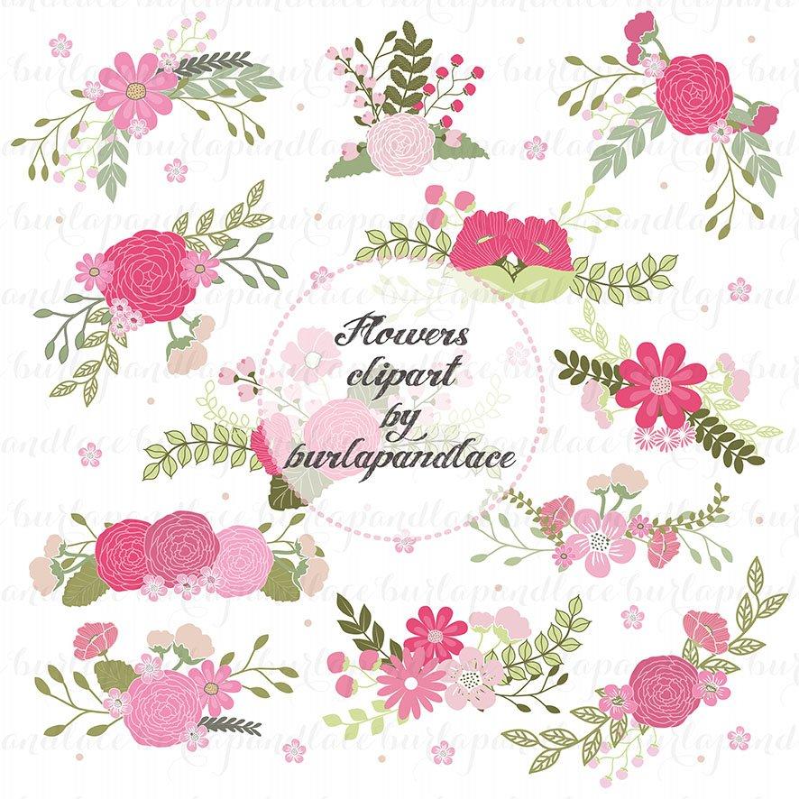 Wreath Flower Clipart Illustrations Creative Market