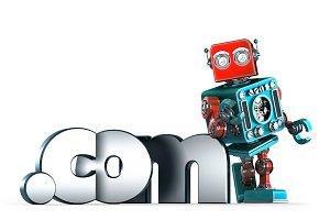Retro robot with dot COM domain sign. Isolated. Contains clipping path
