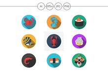 Japanese and seafood menu flat icons
