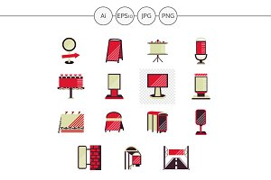 Outdoor advertising red style icons