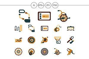 E-bike parts flat color icons. Set 2