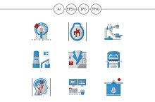 MRI equipment flat icons. Set 2