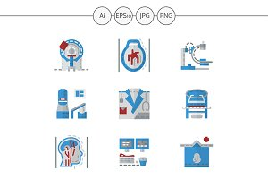 MRI equipment flat icons. Set 2