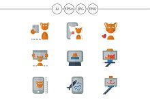 Red cat selfie color icons. Set 2