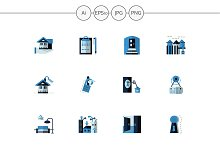 Blue color rent of property icons