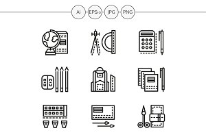School accessories line icons. Set 2