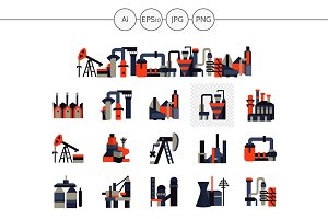 Factories and plants icons. Set 2