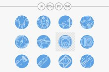 Scuba diving blue vector icons
