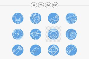 Scuba diving blue vector icons