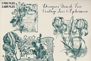 Vintage Floral & Ephemera Brush Trio
