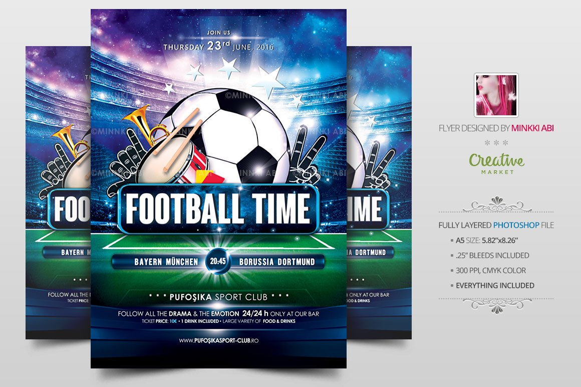 european football flyer poster flyer templates creative market
