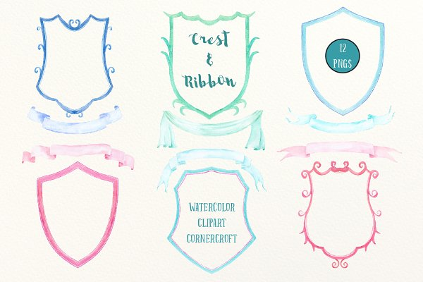 Watercolor Crest Frame and Ribbon