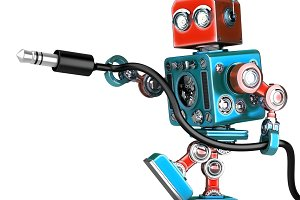 Retro Robot with stereo audio jack. Isolated. Contains clipping path