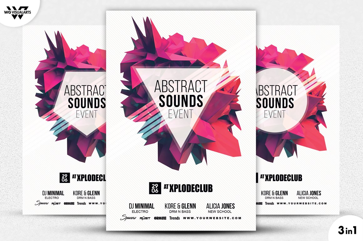 3in1 ABSTRACT SOUNDS Flyer Template ~ Flyer Templates ~ Creative Market