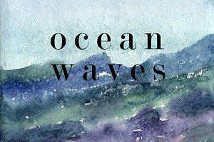 Ocean waves watercolor texture