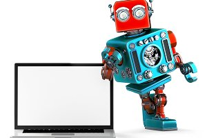 Retro Robot with blank screen laptop. 3d illustration. Isolated. Contains clipping path