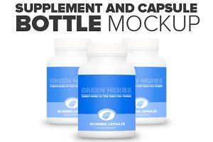Supplement And Capsule Bottle Mockup