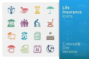Life Insurance Icons | Colored