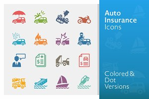 Auto Insurance Icons | Colored