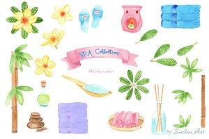 Watercolor SPA Design Elements