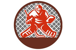Ice Hockey Goalie Circle Retro