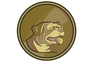 Rottweiler Guard Dog Head Gold