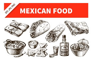 Hand Drawn Sketch Mexico Food Set