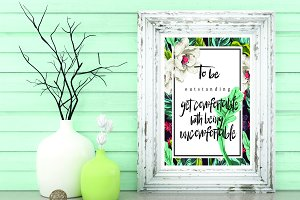 Graphic floral digital quote