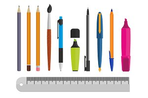 Vector illustrations office supplies