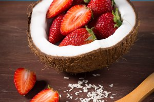 Coconut and strawberries