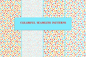 Colorful seamless patterns set