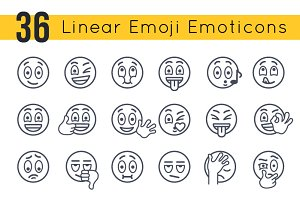 Linear Emoji Emoticons Smiley Faces
