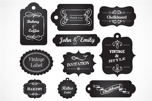 Chalkboard Vintage Labels & elements