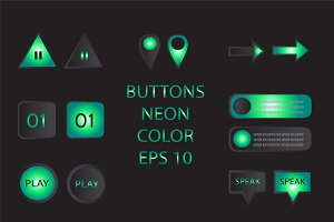 Buttons neon color vector