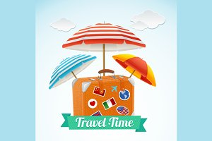 Travel Concept Banner Card. Vector