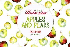 Pattern apples and pears set