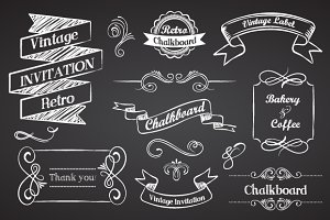Vintage Ribbons on chalkboard