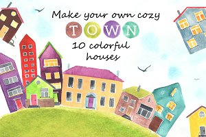 10 watercolor houses