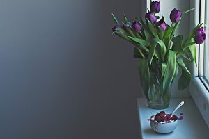 Fresh violet tulips and morning bowl